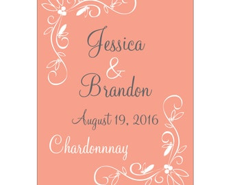 98 - 2x2.67 inch Custom Wedding Rectangle or Mini Wine Bottle Labels - hundreds of designs to choose from WN-067