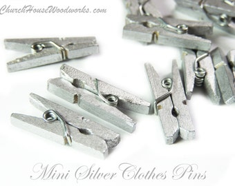 "Mini Clothespins, Wood Clothespins, Silver, Tiny Clothespins, clothes pegs, Small Clothespin, 1"" clothespin, crafts supplies diy"