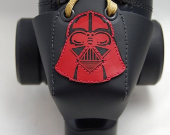 Leather Skate Toe Guards with Darth Vader Helmet in Red Or Choose Your Own Color!