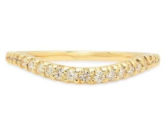 Curved Bezel Set Diamond Eternity Ring 14k . Diamond Wedding Band . Diamond Bezel Eternity Ring . Stacking Ring. Wedding Band.Bezel