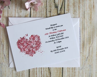 10 Personalised Birthday Invites or Thank You Cards With Envelopes Pink Flowers 16th, 18th, 21st, 30th, 40th, 50th, 60th, 70th, 80th, 90th
