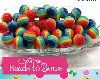 NEW 20mm Chunky Rainbow Striped Bubblegum Beads, DIY Bubblegum Beads, Gumball Beads, Acrylic Gum Ball Beads, Chunky Necklace Supply Beads