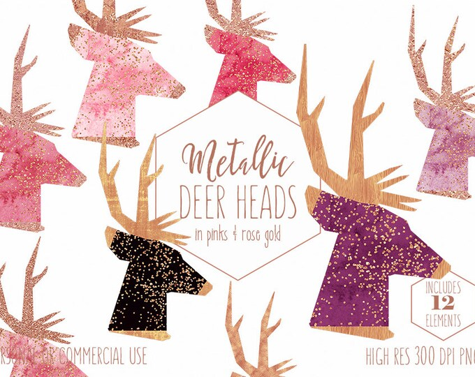 ROSE GOLD DEER Clipart for Commercial Use Clip Art Pink Watercolor Reindeer Images with Metallic Confetti Stag Buck Antlers Digital Graphics