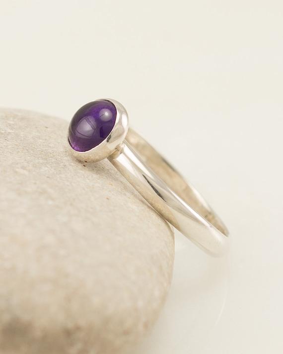 Amethyst Ring- Sterling Silver Ring- Purple Stone Ring- February Birthstone Ring- Handmade Silver Jewelry Amethyst