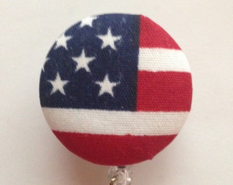 Patriotic 4th of July Red White Blue Covered Button Retractable Badge Reels ID Holders