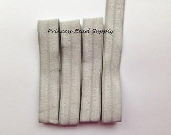 Silver Gray FOE,  5/8 Fold Over Elastic,  3 yards, 5 yards or 10 yards Elastic By The Yard,  Headband Elastic, Hair Ties, Headband Supplies