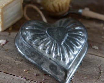 French antique cookie mold shape heart. French cake pans. Night light holder,. French tart tin. Baking tins. Holder candle. Candlestick