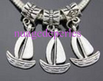 2 boat pendant with bail Tibetan silver charms
