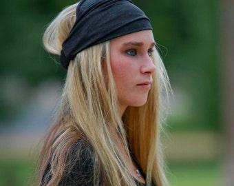 Headband Stretchy, Charcoal Gray Headwrap, Yoga Head Scarf, Running Headscarves, Dark Grey Head Wrap Stretch (#2861) S M L X