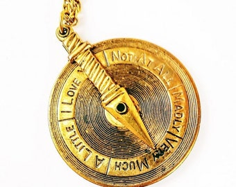 I Love You Spinning Dial Necklace ~ in English and French, Steampunk
