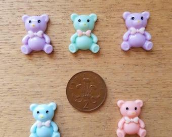 Set of 5 resin flat back bears