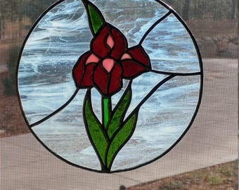 Stained Glass Iris Medallion