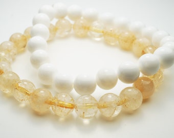 Citrine Natural Stone Summer Bracelet  . Available as a set with White Coral . Ready to ship