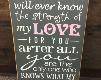 No One Else will ever know the strength of my Love for you. Primitive Country Hand painted Sign, Nursery Baby Room, Baby Shower Gift