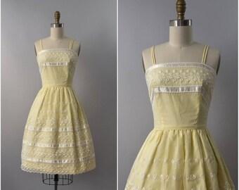 SUMMER SALE 1950s Vicky Vaughn pale yellow eyelet sun dress • xs