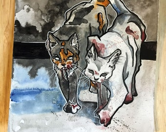 Scary Cats Print - Killer Kitty Art - Reproduction of Original Watercolor and Ink Drawing of Cats - The No Sleep Podcast Art - Bloody Paws