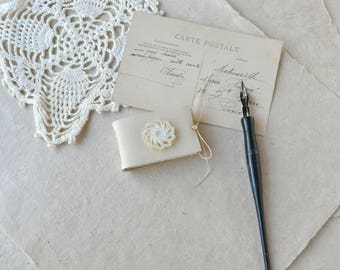Tiny White Leather Book with Antique Button