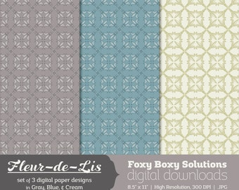Fleur-de-Lis Pattern Digital Paper Pack: set of 3 digital papers, Printable Paper for Scrapbooking/Card Making, Instant Download