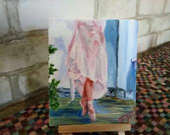 Ballerina Original Mini Oil Painting / Magnet Pointe Shoes Small Decor miniature Dance fine art romantic gift painting