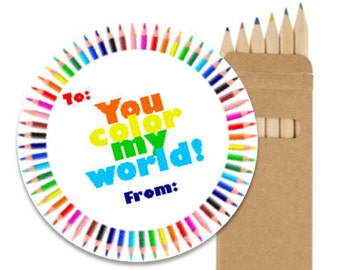 "INSTANT DOWNLOAD ""You Color My World"" Class Party Favors Labels Stickers Cards Tags Labels Printables"