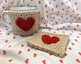 Crochet Heart Mug Cosy and Coaster set by Little Gems Crochet