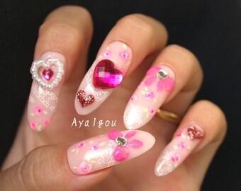 Stiletto nails, kawaii nails, hime gyaru, nail art, pink nails, 3D nails, false nails, long nails, nail set, bows, gems, rose