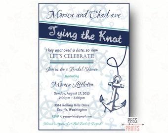 Printable Nautical Bridal Shower Invitation // Nautical Bridal Shower Invite // Tying the Knot Invitation // Nautical Shower Invitation
