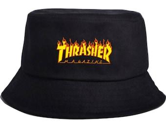 Thrasher Bucket Hat Magazine Flames Skateboard Logo Cap