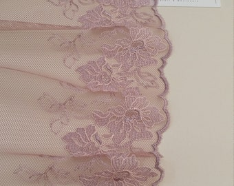 Rose gold lace Trim, French Lace trim, Chantilly Lace trim, Bridal lace, Wedding Lace Scalloped lace Lingerie Lace by the yard FL74101
