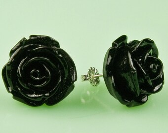 Large Black Vintage Rose Button Post Earrings
