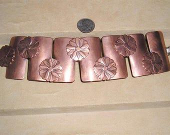 Vintage Signed Rebajes Copper Flower Pattern Panel Bracelet 1950's Jewelry 6082