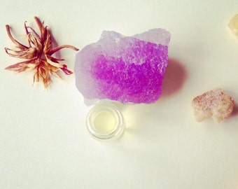 Amethyst. natural perfume. soft flowers, earthen cream, victorian herbs, skin scent. botanical fragrance.