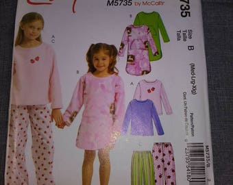 5735 Simplicity Girl Child's sleep wear pajama Pattern, UNCUT, Size M,L,XL Easy Pattern