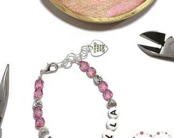 Grow with me Bracelet, Name Bracelet, Adjustable Bracelet, Pink Girls Bracelet, Stocking Stuffer, Birthday Present, Gifts for her, Custom
