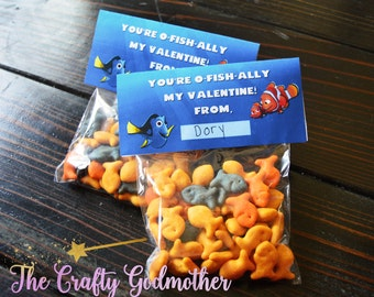 INSTANT DOWNLOAD Finding Dory Finding Nemo Fish Printable Valentine's Day Bag Topper