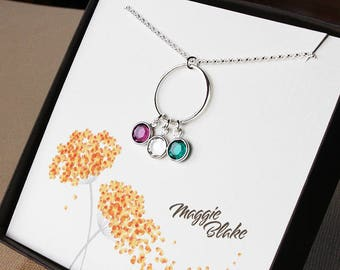 Birthstone necklace for mom childrens birthstone necklace multiple birthstone necklace mothers day necklace blended family gift for mother