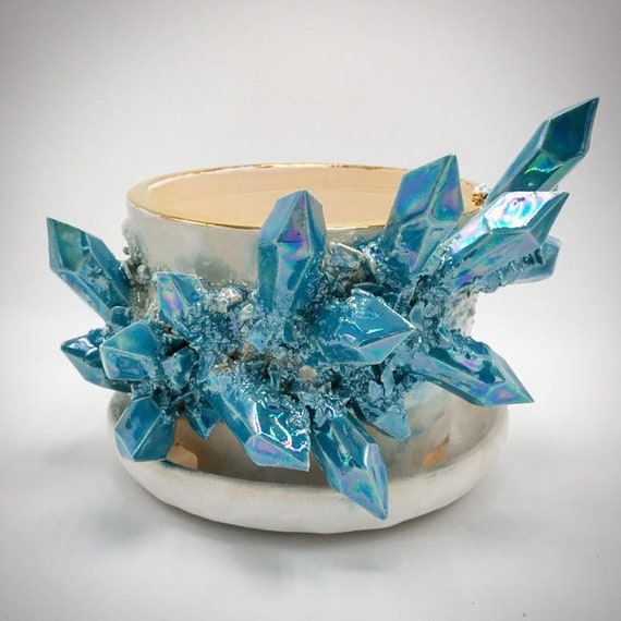 Crystal Succulent Pot w/ Attached Dish