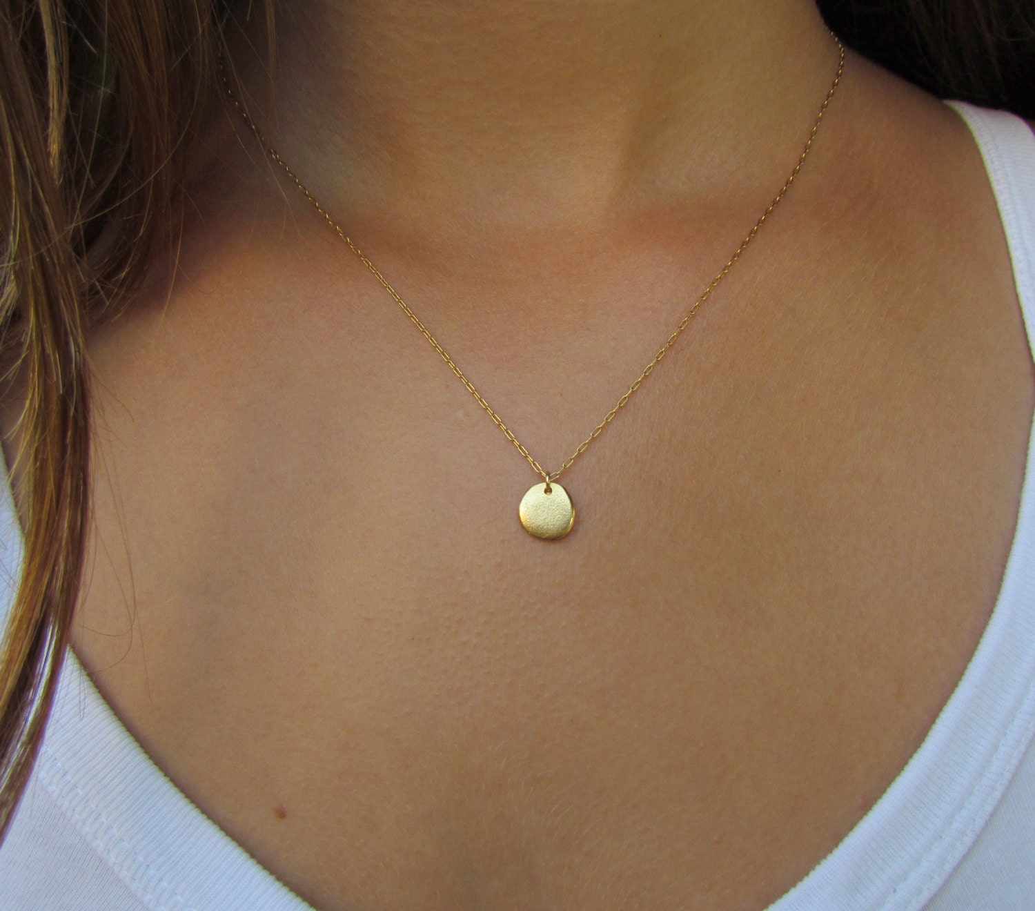 Simple Gold Necklace Gold Disc Necklace