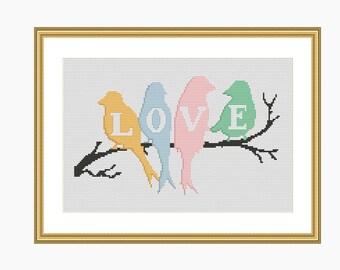 Cross Stitch Pattern, Modern cross stitch - LOVE BIRDS cross stitch chart - Downloadable PDF