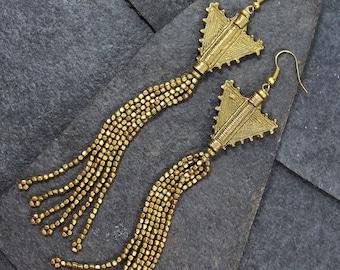 Long Gold Tassel Earrings, Tassel Earrings, Statement Earrings, Dangle Earrings, Bohemian Earrings, Bohemian Jewelry, Boho