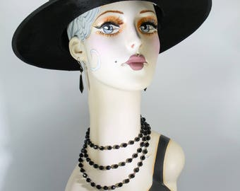 Antique Victorian Edwardian Wired French Jet Glass Beaded Necklace Mourning Flapper Sensational Piece