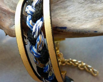 Bracelet gold leather and braid