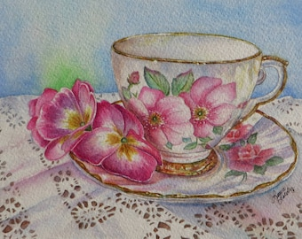 Lady May Teacup Art Reproduction Giclee Print