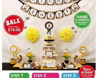 Bumble Bee Baby Shower Package Personalized FULL Collection Set - PRINTABLE DIY - BS816CB1x