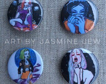 Set of 4 Buttons - Witchy