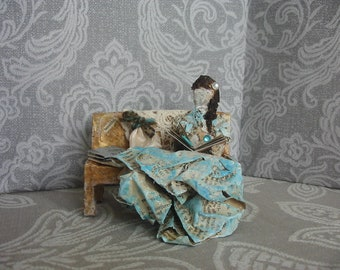Victorian style paper art doll. Paper figurine. Sitting  doll/figurine. Dolls house accessory.