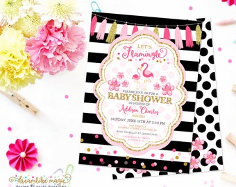 Flamingo Baby Shower Invite, Printable Summer Baby Shower Invite, Baby Girl, Baby Girl Shower, Summer Soiree, Black and White, Pink and Gold
