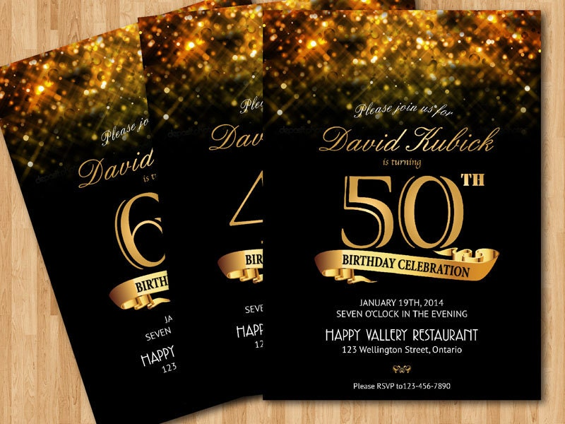 30th 40th 50th 60th birthday invitation. Gold glitter birthday