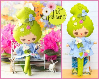 Spring girl. PDF pattern. Felt doll.