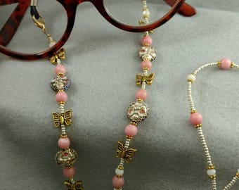 Pink Cloisonne and Butterfly Eyeglasses or Reading Glasses Chain